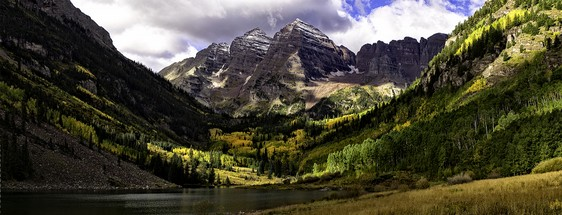 Maroon Bells 2015 Panorama canvas gallery wrap